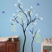 Large Size Tree Wall Sticker Birdhouses Leaves And Cute Birds Vinyl Nursery Baby Room Decals Home Decor Murals Kids Bedroom 3527 цена
