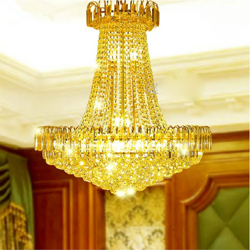 European-style Golden Crystal Chandelier Double-floor Crystal Chandelier Villa Living Room Crystal Lamp Restaurant Lighting Led Latest Fashion Pendant Lights Ceiling Lights & Fans