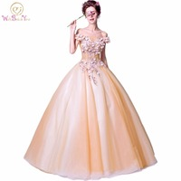 Walk Beside You Gold Prom Dresses 2018 Long Ball Gown Off Shoulder Floral Pearl Lace Applique