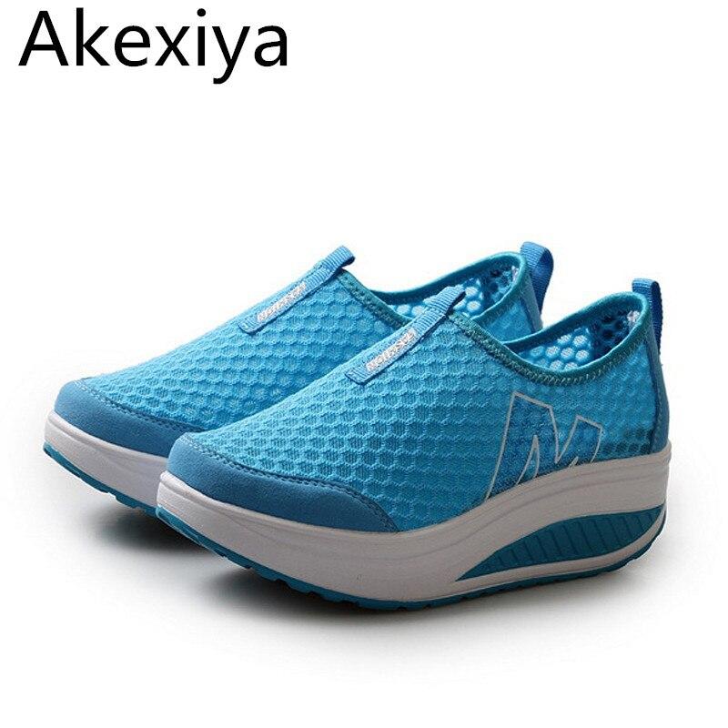 Akexiya 2017 nuevo aumento de la altura mujeres verano zapato casual eu 35-40 su