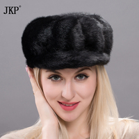 2018, new products, 100% fur, mink hats, all mink, ladies fashion, Fashion Black Mink hat, Russia's high quality. DXJ17 31