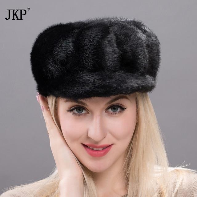 2018, new products, 100% fur, mink hats, all mink, ladies fashion, Fashion Black Mink hat, Russia's high quality. DXJ17-31