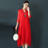 Women Summer Dress New 2019 Vintage embroidery Leaf Long Robe Woman Casual Dresses vestidos big sizes dress plus size female