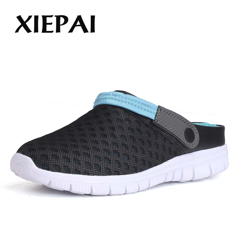 XIEPAI Men Summer Mesh Shoes Slip-on Sandals Large Size 36-46 Breathable & Light Men Beach Shoes Casual Slippers