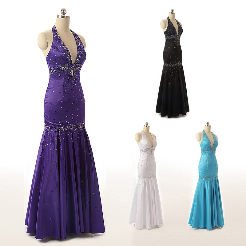 Classic Women Long Mermaid Evening Dresses Real Photo Satin Beading Lace Up Dress Sexy Halter Backless Prom Party Gowns OS176