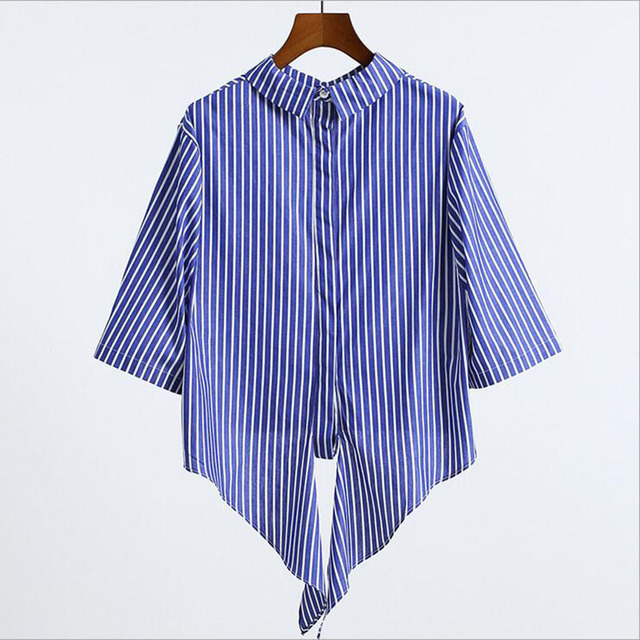 de3ed51a499 Women Blouses Blue And White Striped Shirt Women Short Paragraph Jacket  Straps Can Be Worn On