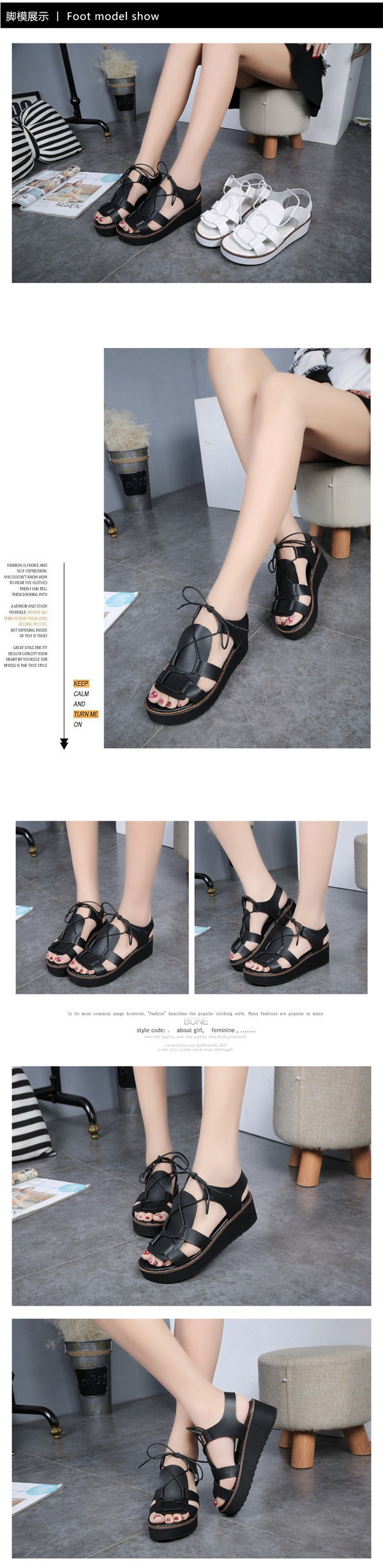 Hot Sale New Spring Summer Fashion Sandals Thick Soled Shoes Lace-up Black White Women sandals HSD08  (1)