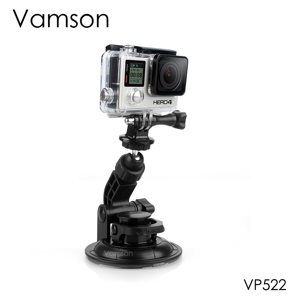 Vamson for GoPro Accessories Car Suction Cup Tripod 9CM Diameter Base Mount For Go pro Hero 4 3+ 2 for SJ4000 for Xiaomi VP522 3 suction cup car adapter holder for gopro hero 3 3 2 1 sj4000