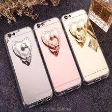 Case for iPhone X 8 4 5 SE 6 6S 6SPlus 7 8 Plus cute love heart Diamond peacock Glitter Mirror Phone Back Cover 360 Ring Bracke