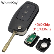 WhatsKey 3 Button Flip Remote Control Car Key 315/433Mhz 4D60 Chip FO21 Blade Fob Case For Ford Focus Mondeo Fiesta With Logo