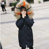 2018 New Girl Winter Coat White Duck Down Children Winter Jacket With Real Fur Kids Warm Thick Hooded Outerwear For Teenage Girl