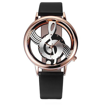 New Fashion Women Watch Personality Music Symbol Rose Gold Frame Leather Quartz Wristwatch Clocks Relogio Feminino Drop Shipping