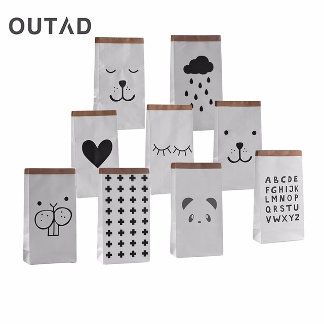 Cartoon Heavy Kraft Paper Storage Bag Kids Toys Clothing Bag Sundries Organizer Storage Bag Laundry Bag Home Decor DropShipping