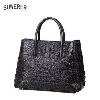 SUWERER 2020 New Women Genuine Leather bags fashion luxury Crocodile pattern schoudertas dames designer  women leather tote
