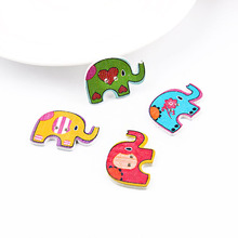 Wholesale 30*21mm 50pcs Mixed Color Elephants  Wooden Buttons For Handmade Craft Fit Sewing And Scrapbooking Accessories 2 Holes multicolor 50pcs 2 holes mixed animal wooden decorative buttons fit sewing scrapbooking crafts