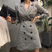 Early Autumn 2019 New Checked Plaid Double-breasted Small Suit Collar Dress Slim Women Clothes Suit Button Plaid Dress Women