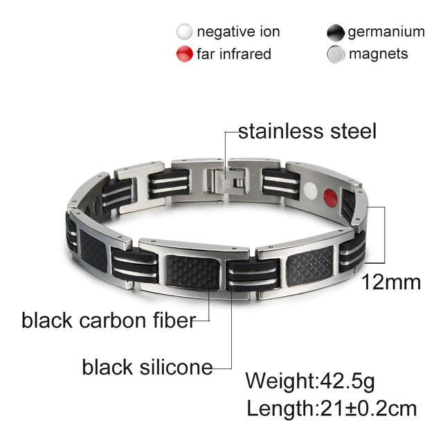 Blue/Black Silicone Energy Germanium Hologram Bracelets