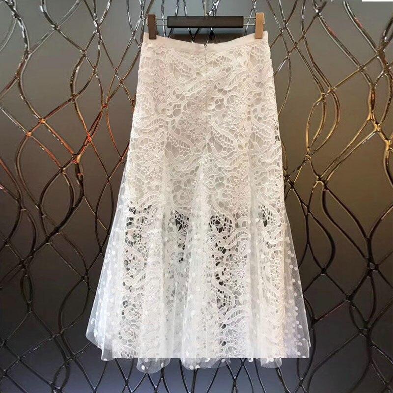 De Patchwork Moda Volantes La Elegante Blanco Malla Mujeres Corea Punto Primavera Con Las 2019 Larga Falda Encaje Verano Del qxw5pF