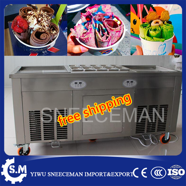 free shipping stainless steel 45cm big pan fry fried ice cream machine automatic temperture control ice pan roll machine free shipping big pan 50cm round pan roll machine automatic fried ice cream rolling rolled machine frying soft ice cream make