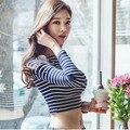 Poleras де mujer moda 2017 sexy короткие футболка женщины футболку хлопок футболку femme повседневная полосатый с длинными рукавами футболки женщин топы