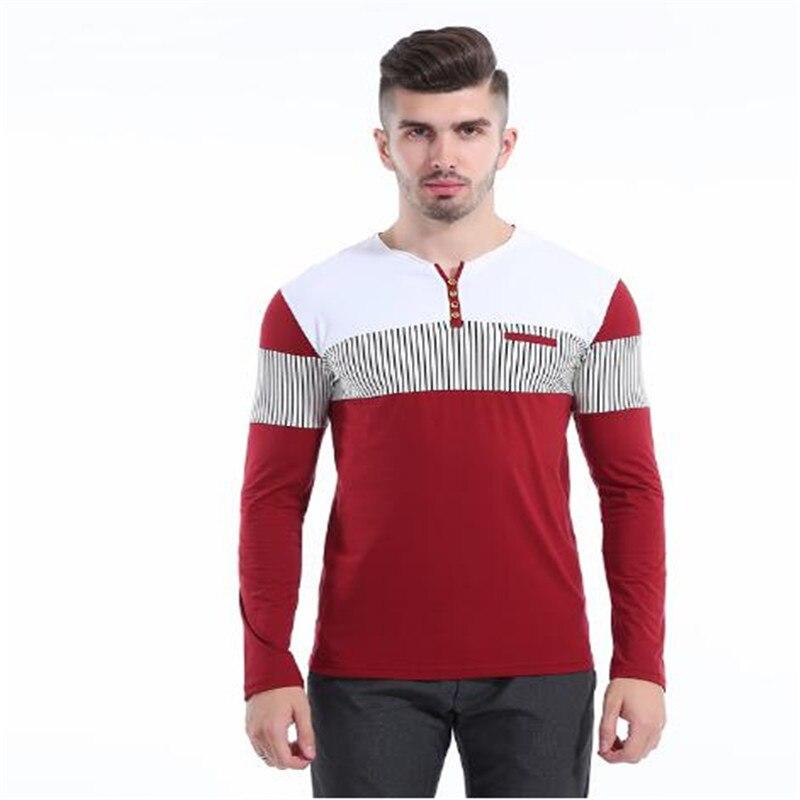 2018 nouveaux hommes de t-shirt rayé à manches longues t-shirt hommes couture couleur bouton vers le bas hommes tops AE111