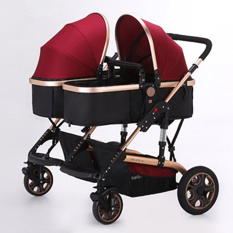 Baby Stroller Twins Stroller Golden Color Frame High Landscape ...