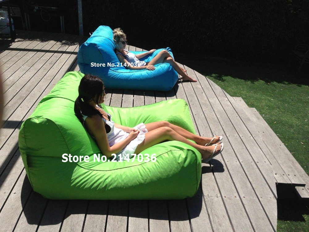 Swimline Sunsoft Chaise, Lime And Aqua Blue , Large Giant Beanbag Chair