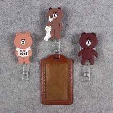 Cute Gift  Little Bear Rabbit Hospital Badge Scroll Office Reel Scalable Nurse Entrance School Studen Guard Card PU Holder