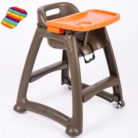 Chidlren Highchair For Dinning, baby high chair with adjustable tray, can use at home or hotel baby feed chair with wheels