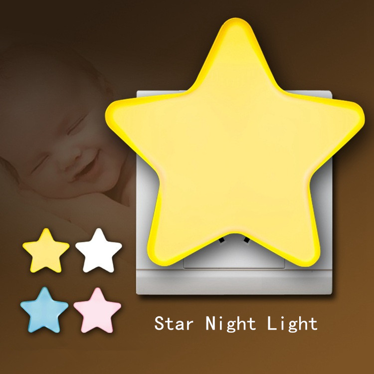 JXSFLYE Star Night Light Plug-in Wall Lamp Home Lighting Socket Lamp Children's Room Decoration EU/US Plug Light Control