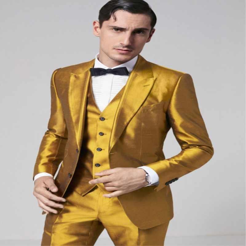 Золотистые облегающие смокинги для жениха, отличные мужские свадебные смокинги 2019, мужской формальный деловой костюм для вечеринок, 3 предмета (куртка + брюки + жилет)