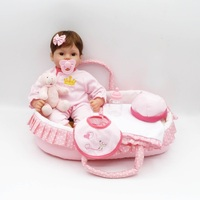 Luxury Sleeping Basket Reborn Baby Doll 17 41CM Soft Silicone Vinyl Reborn Baby Girl Dolls bebes reborn bonecas Play House Toys