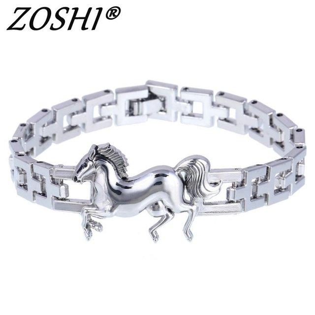 Fashion Punk Horse Stainless Steel Charm Bracelet For Women Diy Bracelets Bangles Charms Men