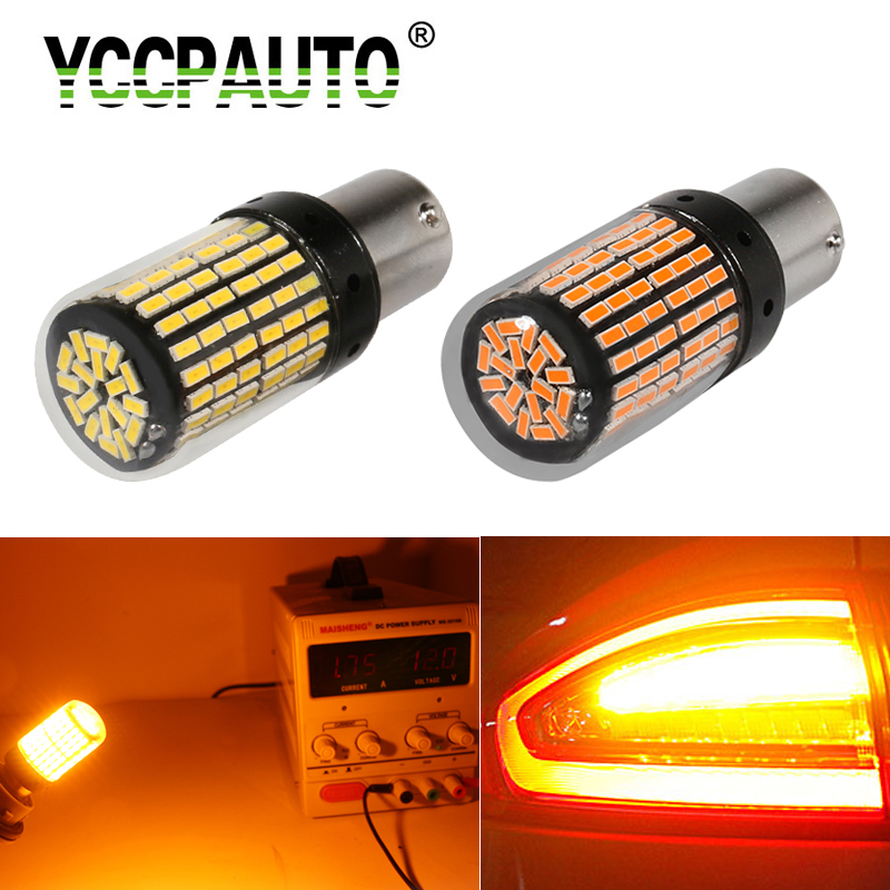 1Pcs 1156 Ba15s T20 <font><b>LED</b></font> <font><b>P21W</b></font> W21W PY21W <font><b>LED</b></font> Canbus <font><b>Bulbs</b></font> No Hyper Flash lights Auto Car Turn Signal Parking lights 3014 144 smd image