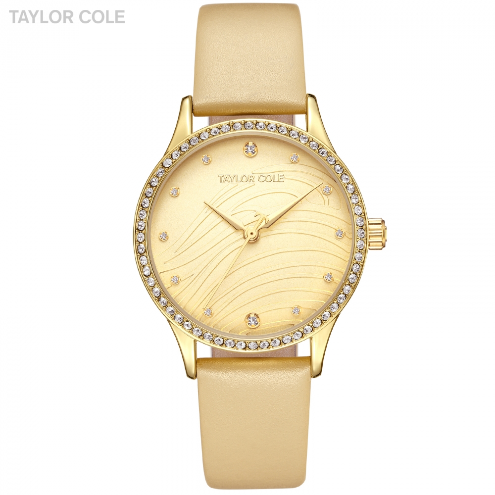 Taylor Cole Golden Lady Wrist Watch Clock Women Fashion Quartz Leather Band Bracelet Crystal Quartz Watches Relogio Gift /TC101 beautiful chrome bowknot lady s crystal quartz wrist watch
