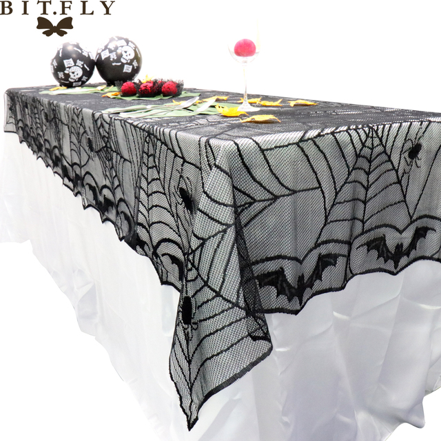 BITFLY 240*120cm Rectangle Lace Black Spider Web Halloween Tablecloth  Tablecover Overlay Halloween Party Home