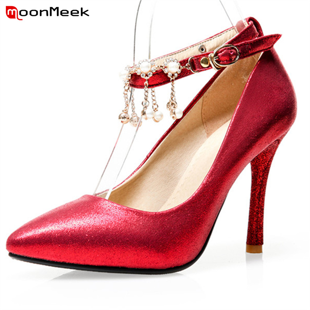 MoonMeek new 2018 hot prevail women pointed thin heel shoes with crystal pointed toe sexy female extreme high heel pumps