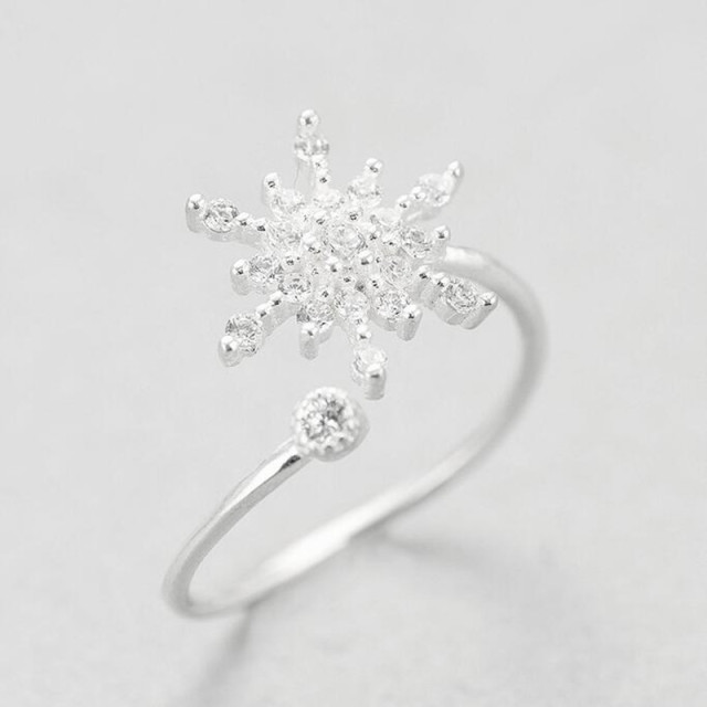 New Creative Design 925 Sterling Silver Fine Zircon Snowflake