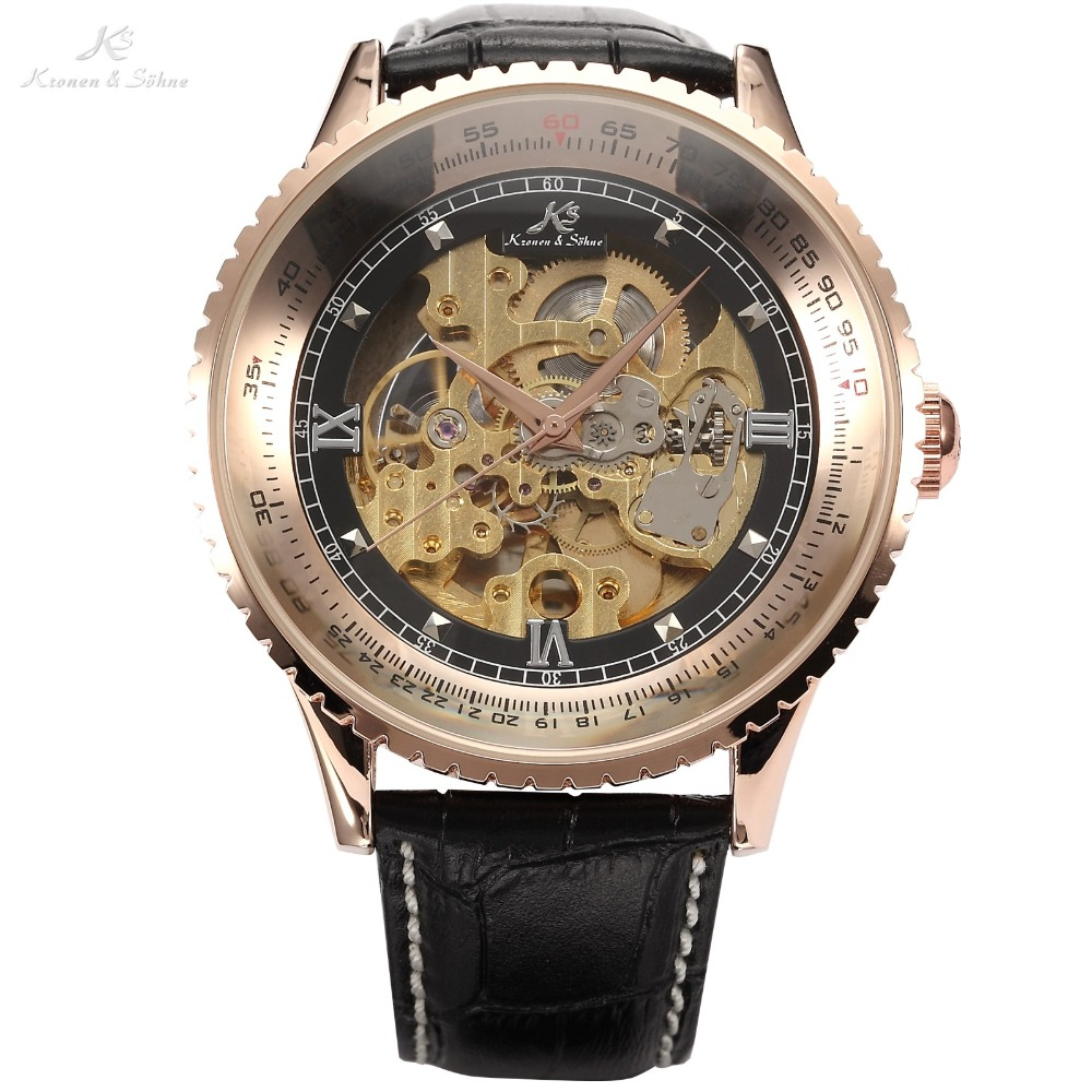 цена на Luxury Ks Royal Carving Black Leather Strap Automatic Mechanical Skeleton Men's Wrap Golden Case Relogio Self Wind Watch / KS112