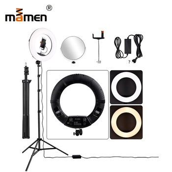 Mamen Wireless Remote Control Ring Light Dimmable Lamp With Tripod Camera Photography Lighting 480pcs Chips 3300Lux