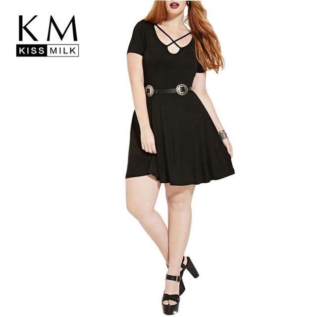 Kissmilk Плюс Размер Новая Мода Женщин Slim С Коротким Рукавом V-образным Вырезом Большой Большой Размер Мини-Платье 3XL 4XL 5XL 6XL