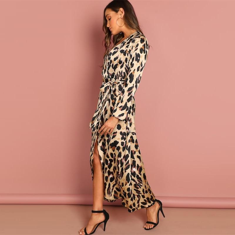 COLROVIE Deep V-Neck Surplice Wrap Satin Leopard Vintage Dress 2018 Long Sleeve Sexy Party Dress Ladies Fashion Long Dress 11