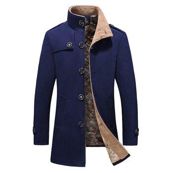 Fashion Business Casual Men Warm Thicken winter Wool Trench Woolen coat Slim Windbreaker Long Jacket Outwear Plus Size M-5XL