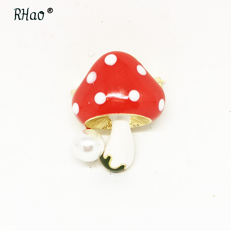 RHao Lovely Small Size Collar pins Cute Enamel mushroom plant brooches pins scarf buckles for women men girls clothes corsage