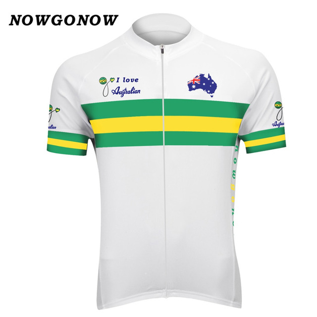 ddb9ffb3d NOWGONOW 2017 cycling jersey Australian national team green white maillot  ciclismo ropa flag map clothing bike wear road MTB