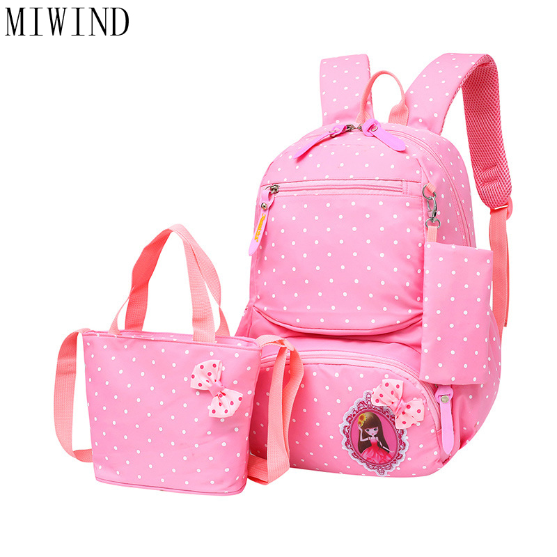 MIWIND 2017 vintage school bags for girls kids bag Dots backpack children backpacks dot shoulder bags Mochila Infantil TZF932
