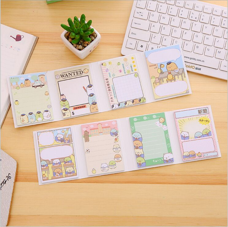 80 pages Cartoon Sumikko Gurashi 4 Folding Memo Pad Sticky Message Notes N times posted Work Schedule Scratch Pad Mini Notebook