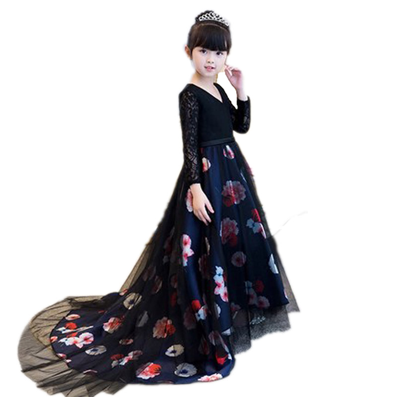 все цены на Luxury Children Girl Printing Flower Birthday Evening Party Long Tailing Ball Gown Dress Model Show Host Tutu Costume Dress E136 онлайн