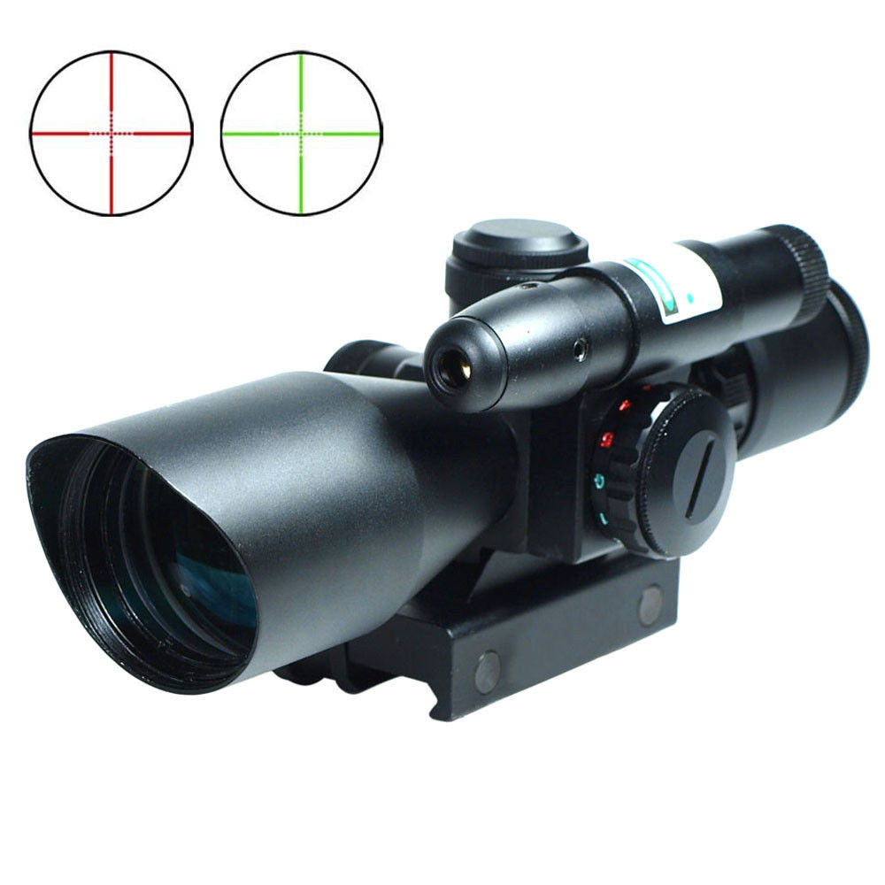 2.5-10x40 Hunting Riflescope Tactical Airsoft Air Guns Sight Red/Green Dot Laser Sight Scopes Illuminated Mount Rail