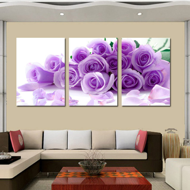 Oil Painting On Canvas 3 Pieces Sweet Purple Rose Art Hand Painted Wall Of Pinturas Print Pictures Hd